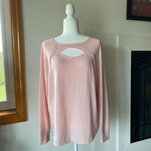 Grace & Lace Pink Long Sleeve Cut Out Pullover